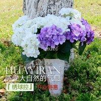 한 조각 (7 개의 줄기 / 무리) 51cm 긴 유럽 스타일 실크 인공 수국 꽃 웨딩 부케 가짜 부시 홈 장식 꽃