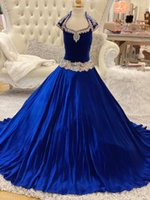 Royal-Blue Velvet Pageant Dresses for Infant Toddlers Teens 2021 Cap Sleeve ritzee roise Ball Gown Long Little Girl Formal Party Gowns Keyhole Back Beading Crystals
