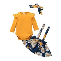 Baby Clothing Set Rompers+Suspender Skirt Fall 2021 Children Boutique Clothes 0-2T Toddler Girls Cotton Long Sleeves 2 PC Suit