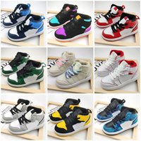 Jumpman 1 Niños Zapatos de baloncesto Niños Sports Sports Red Chicago Boy Girls 4s Ball Ball Pour Enfants Athletic Sneakers Tamaño 26-35