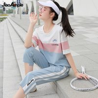 Women's Tracksuits Summer Sports Suit Women Tracksuit 2021 Cotton O-Neck Casual Top Pants Two-piece Girl Plus Size Short-sleeved Shorts Set