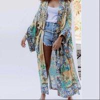 Ayualin Womens Camiseta Kimono Cardigan Robe para Mulheres Outono Loxo Floral Floral Impresso Tops Laterais Sashes Sashes Blusas Blusas