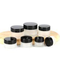 Potenciômetros de vidro cosméticos de vidro fosco de vidro do refrasco vazio com tampa preta do parafuso e recipiente de embalagem da amostra do curso do forro de PP para as garrafas de loção creme da sombra da composição