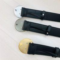 Бизнес-мужчины дизайнеры ремни Женские пояса кожа высокого качества Золотая серебряная круглая пряжка для мужского дизайнерской ременной шириной 3,8 см