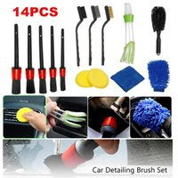 Car Sponge 14Pcs Cleaning Detailing Set Wash Dirt Dust Clean Brushes Tools Auto Care Accessories For Air Outlet Interior