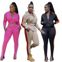 Women's Two Piece Pants Zipper Jacket Straight Trousers Stitching Two-piece Solid Color Suit Autumn Long-sleeved