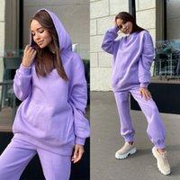 Laufen Sets Lounge für Frauen Lose Sweatsuit Set 2 Stück Outfits Weiche Pyjamas Langarm Training Tracksuits Drop 2021