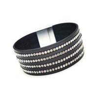 Tennis TOTABC Fashion Black Crystal Leather Bracelets For Women Strips Boho Multilayer Wide Wrap Bracelet Jewelry