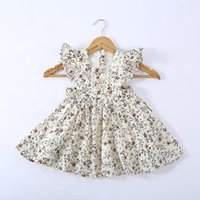 2-7Y Children Girls Dress Summer Toddker Kids Princess Clothing Ruffles Dots Flower Print A-line Holiday Sundress Dresses Girl's