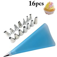 Baking & Pastry Tools Kapmore 16Pcs Cake Decorating Kit Reusable Assorted Stainless Steel Icing Tip Bag DIY Accessories Set