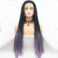Synthetic Wigs Black Purple Gradient Natural Long Hair Braided Box Braids Lace Frontal Cosplay Front For Women
