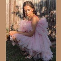Günlük Elbiseler Pembe Ruffles Tül 2021 Moda Custom Made Straplez Kadın Yaz Elbise Resmi Mızırtılı Parti Balo Abiye