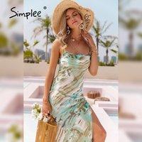 Simplee повседневная галстук напечатанный спагетти ремешок Maxi платье пляж прямая щель летних женщин 2021 сексуальная без рукавов платья Vestidos