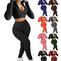 Kadın İki Adet Pantolon Set Eşofmanlar Pembe Kıyafetler Sling Fermuar Up Jogger Takım Elbise Tank Üst + Şort Katı Renk Sweatuit