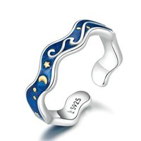 Bamoer Sterling Prata 925 Anéis de amante para casal azul céu estrelado de van Gogh anel de dedo aberto acessórios de jóias 1805 v2