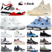 nike air jordan retro 4 4s off white 2021 Tênis de basquete Jumpman Sail Azul University Azul Branco Oreo Fire Red Cred Black Cat Travis Masculino Tênis Feminino 36-47