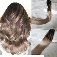 Clip de Balayage en extensiones de cabello Color Negro Natural Desvanecimiento a Ceniza Rubia Ombre Doble Clip In On Extensions 120g