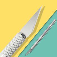 1 Set Metal Handle Paper Cutter Knife Scalpel Blade Wood Craft Pen Engraving Cutting Supplies DIY Stationery Utility