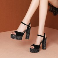 Dress Shoes 2021 Fashion Summer Sandals For Women Chunky Heels Platform Pumps Ladies Square Toes Designer Silver Black High Heels34-39