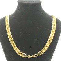 Super Cool Chain Fashion 24K Желтый Сплошной Тонкая Золотой Двухсторонний CURB CUBAN LINK Ожерелье Мужская 600 мм 10 мм