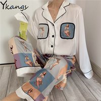 Bayan İpek Saten Pijama Pijama Set Uzun Kollu Pijama Pijama Takım Elbise Kadın Uyku Iki Parçalı Set Loungewear Artı Boyutu 5XL 210412