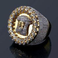 Real Sólido 14k Gold Mens Jesus cabeça Cobre CZ Anéis Iced Bling Zircônia Hip Hop Anel Luxo Deisnger presentes jóias