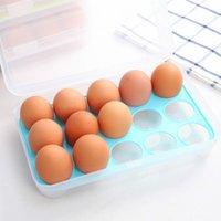 البلاستيك البيض تخزين مربع منظم الثلاجة تخزين 15 البيض المنظمون صناديق في الهواء الطلق الحاويات المحمولة RRD7074