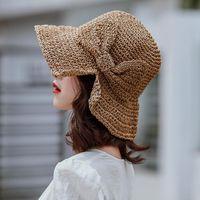 Hasır Şapka Yaz Krave Boya Balıkçı Kız Anti-güneş ışığı Plaj Kap Yay Güneş Katlanabilir Seyahat Basit Nefes Kova Geniş Ağız Şapkalar