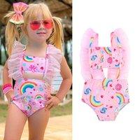 قطعة واحدة ملابس أطفال الدعاوى الطفل السباحة الفتيات ملابس السباحة الاستحمام الطفل الملابس الدانتيل قوس قزح 1-5y B5391