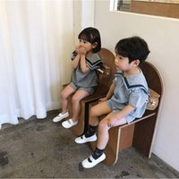 INS Korean Australia Quality Baby Kids Boys Girls Clothing Sets Muslin Spring Summer Navy Turn-down Tops with Shorts Bloomers Outfits