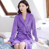 Inverno Pijama Casal Sleepwear Bath Robe Homens Mulheres Flanela Roupão de Roupão Coral Fleece Pijama Hombre Night Dressing Bread Robe Robe 1470 v2