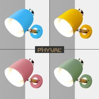 Nordic Macaron Wall Light Iron Lampshade Base Log Accessories Simple Creative Children's Read E27 Lamp Holder