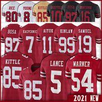 "85 George Kittle 5 Trey Lance Javon Kinlaw Brandon Aiyuk 49ers ""Männer Jerseys Nick Bosa Fred Warner Javon Kinlaw Deebo Samuel 42 Ronnie Lott 71 Trent Williams Watters"