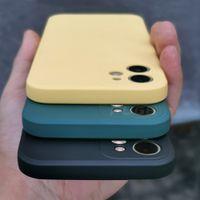 Quadrado quadrado de luxo Casos de telefone celular líquido suave para iphone 12 11 pro máximo mini x xs 7 8 mais tampa traseira