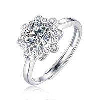 Hela billiga chic lookiant cut bröllop band sterling silver 925 moissanit 1 förlovnings ringar för kvinnor