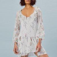Casual Dresses Women Lace Up Corset Summer Dress Long Sleeve Floral Print High Waist Two Piece Ruffles Bandage 2021