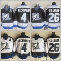 Tampa Bay Relâmpago Vintage 4 Vincent Lecavalier Jersey 26 Martin St. Louis Retro Hóquei no Gelo Preto Branco Equipe Team Costura boa qualidade