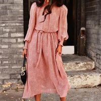 Casual Dresses Foridol Leopard Print Pink Sash Office Ladies Elegant Long Maxi Dress Vestidos Robe Femme Autumn Winter Sleeve Women