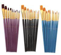 الفنان النايلون اللوحة لوازم فرشاة المهنية المائية الاكريليك مقبض خشبي فرش الفن العرض القرطاسية 10 قطع