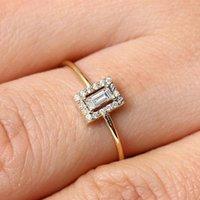 클러스터 링 스퀘어 프린세스 다이아몬드 반지 레이디 14K 황금 약혼 Peridot Garnet Anillos de Bizuteria 보석 보석 Diamante 2021
