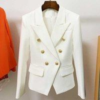 New Women Blazers Lion Head Golden Buttons Double Breasted Suit Jacket Female Slim OL Business Formal Blazer Coat Plus Size Clothing E25