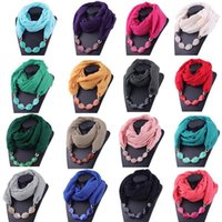 Scarves Scraf Women Cotton Linen Necklace Pendant Scarf Ethnic Style Soft Neck On The Winter Red
