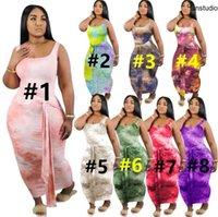 Plus Size S-4XL Delle Donne Abiti Legatura Dye Dress Moda Skinny Gonne Skinny Senza Maniche Maxi Gonne Abiti da estate Vestiti Casual Shiping Shiping 3526