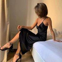 Fashion2021 Casual Slim Sling Kleid, tiefe V-Ausschnitt Satin, sexy, glatt, Pyjamas, Partykleid von Frauen