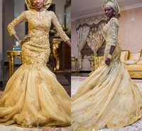 Tradition Gold Beaded Nigerian Wedding Dresses vestido de noiva 2022 Mermaid Lace Appliques African Long Sleeve Bridal Gowns