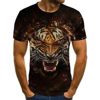 Mens T-Shirts Color Printing Fashion Lion Pattern O-neck Pullover 3D Super Large Size