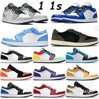 Travis Scotts 1 1 1s 낮은 농구 신발 라이트 연기 회색 하이퍼 로얄 멀티 컬러 레이저 블루 UNC 법원 보라색 골드 발가락 남성 여성 Chaussures