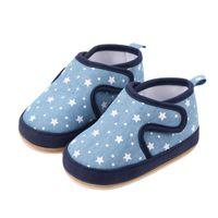Первые ходунки весна осень осень малыша обувь детские звезды печать противоскользящие предыдущие мягкие здоровая обувь для девочек мальчики синий / розовый 11-13 размер