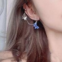 جديد الكورية بيان أقراط للنساء الأزرق لطيف فراشة هندسية استرخى إسقاط سلسلة أقراط الأذن كليب 2021 الأزياء والمجوهرات