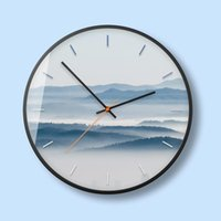 Wall Clocks Nordic Metal Silent Clock Mist Forest Decorative Painting Small Fresh Bedroom Living Room Watch Home Decor 50A048